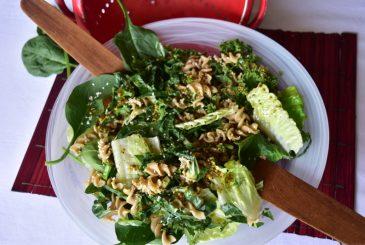 Vegan kale spinach wholemeal pasta salad
